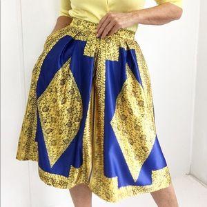 Bold Yellow Blue Ethnic Print Skirt